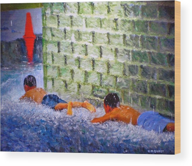 Boy Wood Print featuring the painting Follow The Leader by Michael Durst