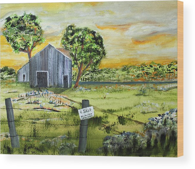 Jack Brauer Wood Print featuring the painting For Sale By Owner by Jack G Brauer