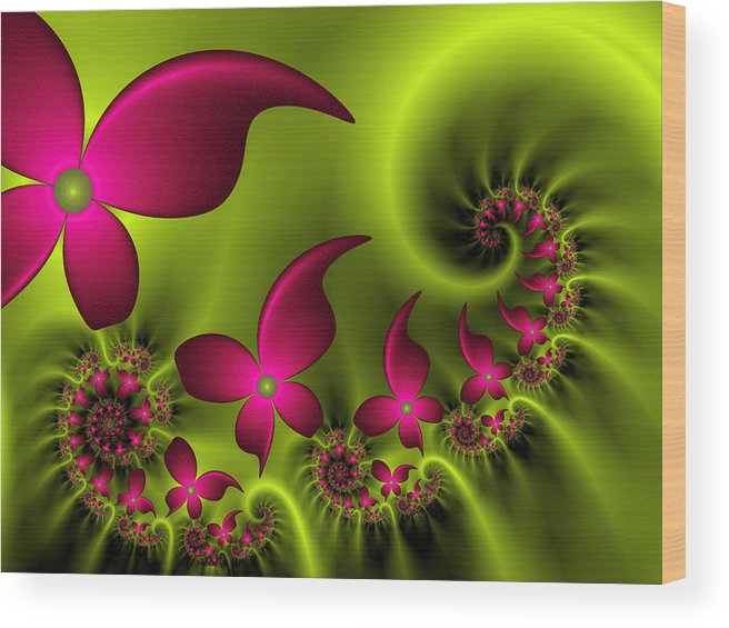 Digital Art Wood Print featuring the digital art Fractal Fluorescent Fantasy Flowers by Gabiw Art