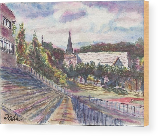 Watercolor Wood Print featuring the painting Francis Field by Horacio Prada