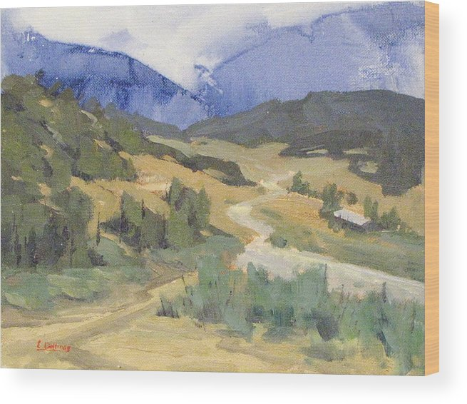 Plein Air Wood Print featuring the painting Frazier Park Road by Ernie Dollman