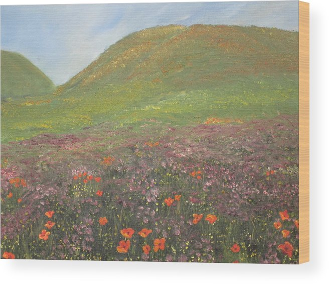 Landscape Wood Print featuring the painting French Countryside by Barbara McDevitt