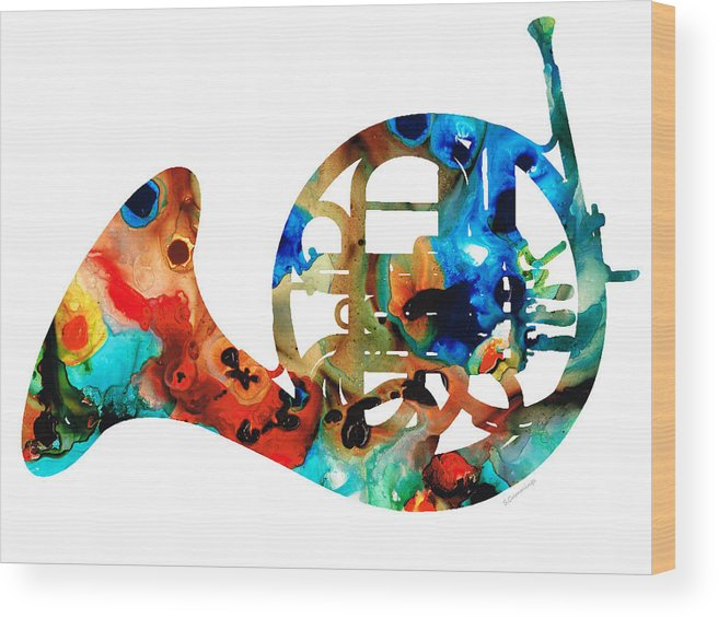 French Horn Wood Print featuring the painting French Horn - Colorful Music By Sharon Cummings by Sharon Cummings