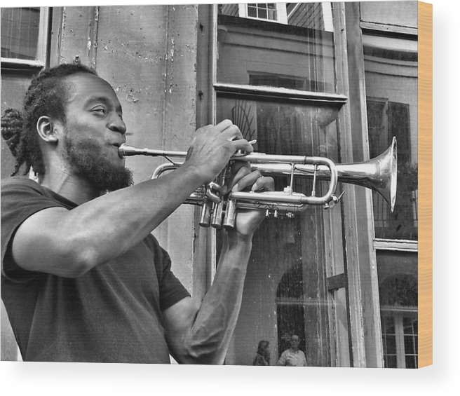 French Quarter Wood Print featuring the photograph French Quarter Street Musician by Mike Barch