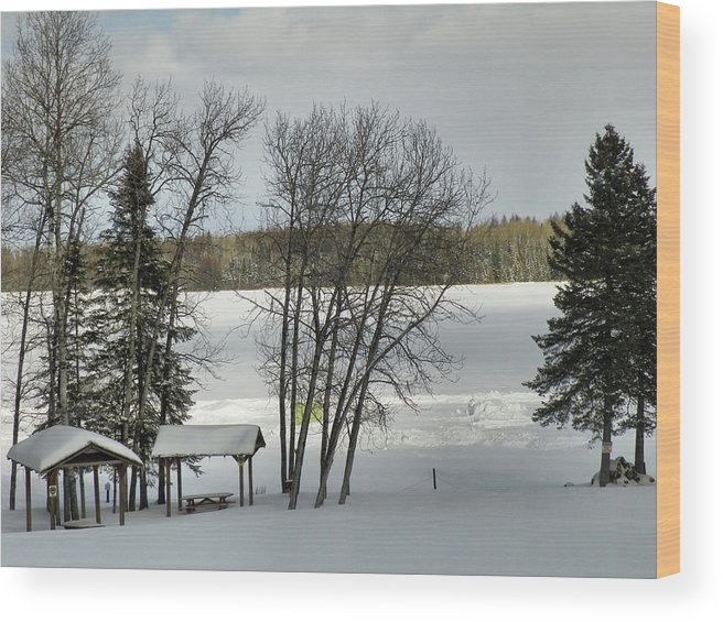 Ice Fishing Wood Print featuring the photograph Frozen Lake Fishing by Gene Cyr