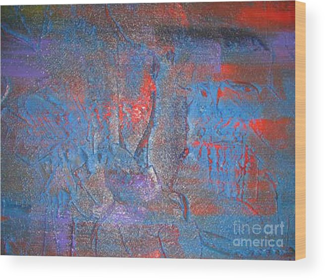 Abstract Wood Print featuring the painting Funny Rain by Silvana Abel