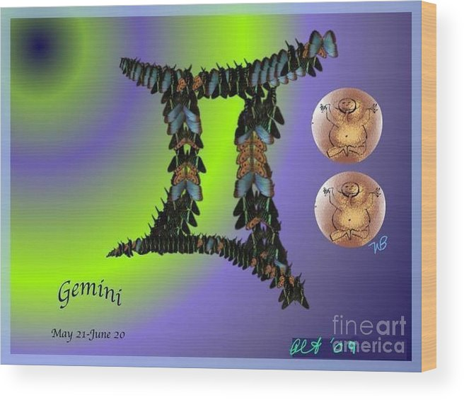 Gemini Wood Print featuring the digital art Gemini By Alice Terrill And William Baumol by The Art of Alice Terrill