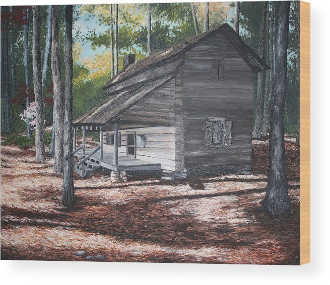 Georgia. Cabin Wood Print featuring the painting Georgia Cabin In The Woods by Beth Parrish
