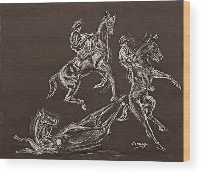 Rearing Horse Wood Print featuring the drawing Ghost Riders In The Sky by Tom Conway