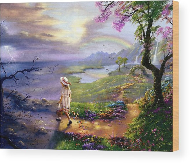 Girl Flowers Sky Rainbow Beautiful Wood Print