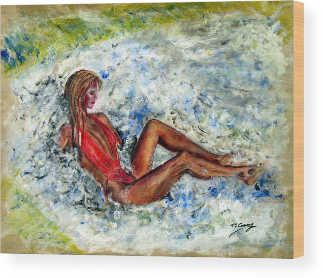 Girl Wood Print featuring the painting Girl In A Red Swimsuit by Tom Conway