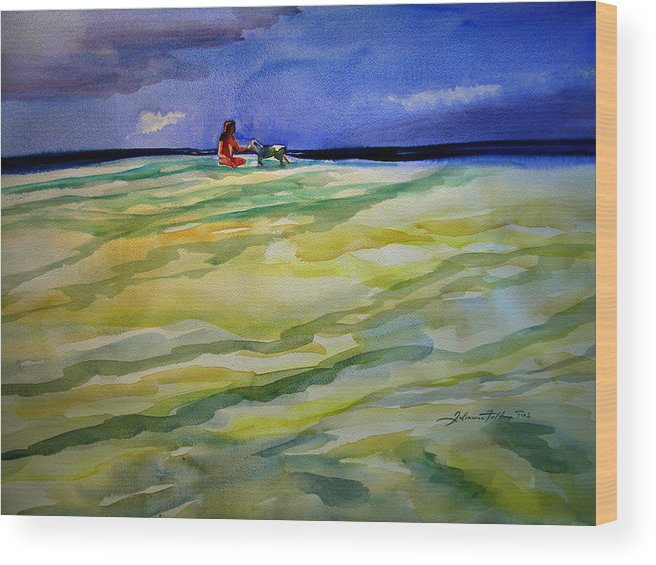Impressionism Wood Print featuring the painting Girl With Dog On The Beach by Julianne Felton