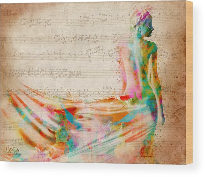 Mozart Wood Print featuring the digital art Goddess Of Music by Nikki Smith