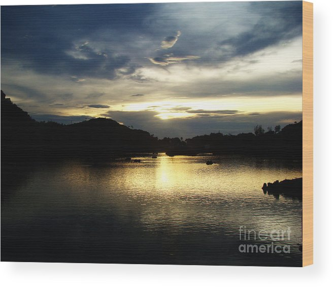 Landscapes Wood Print featuring the photograph Golden Sunset by Jayesh Sharma