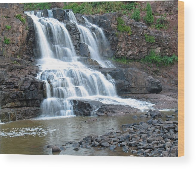 Waterfall Wood Print featuring the photograph Gooseberrry Falls by Gregory Yost