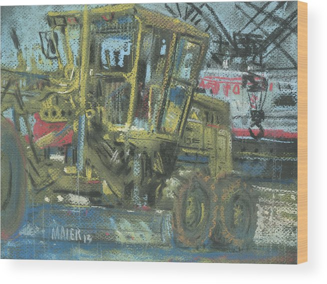 Grader Wood Print featuring the painting Grader by Donald Maier