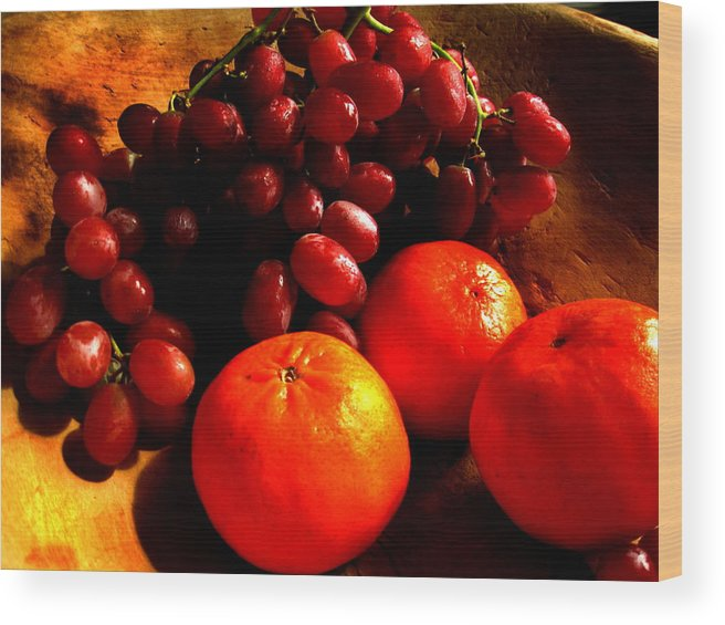 Rembrandt Wood Print featuring the photograph Grapes And Tangerines by Greg Allore
