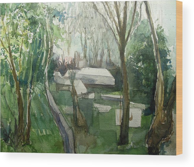 Graveyard Wood Print featuring the painting Graveyard by Lucia Hoogervorst