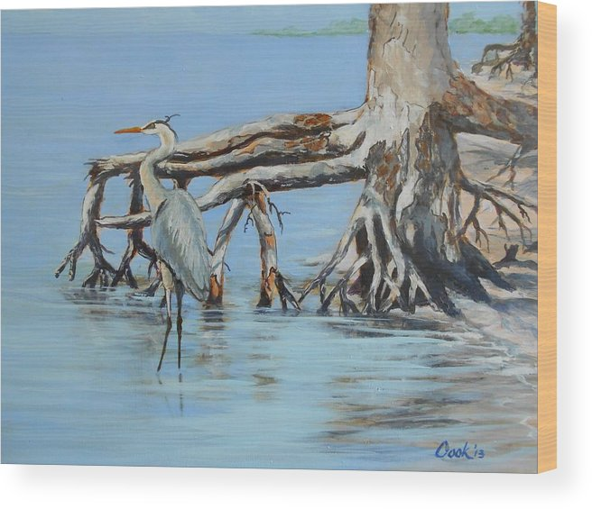 Bird Wood Print featuring the painting Great Blue Heron by Michael Cook