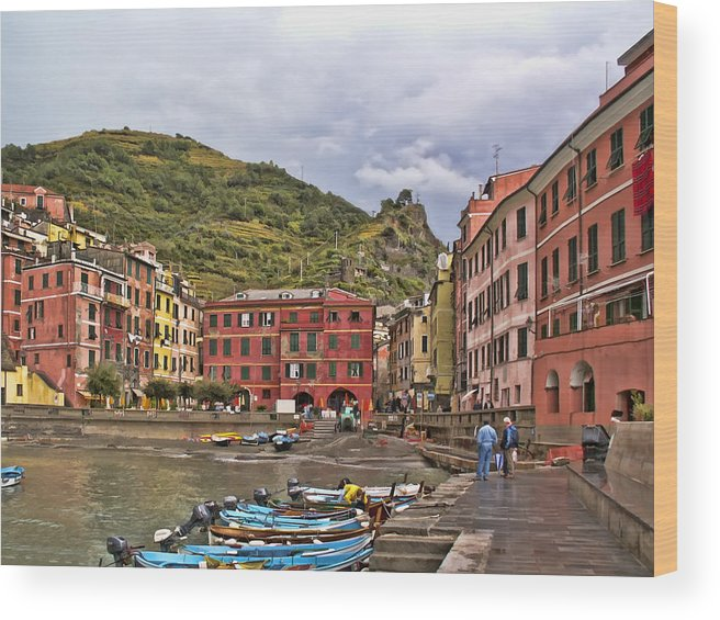 Italy Wood Print featuring the photograph Harbor In Vernazza by Betty Eich