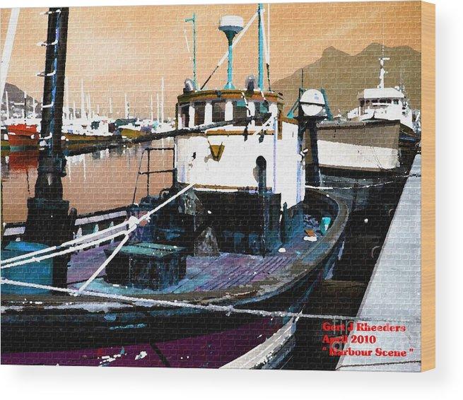 Art Wood Print featuring the painting Harbour Scene by Gert J Rheeders