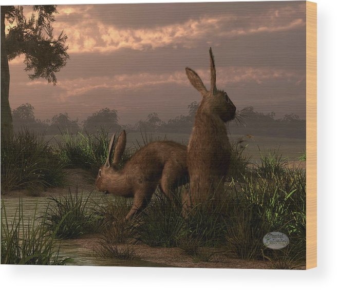 Rabbit Wood Print featuring the digital art Hares In The Wetlands by Daniel Eskridge