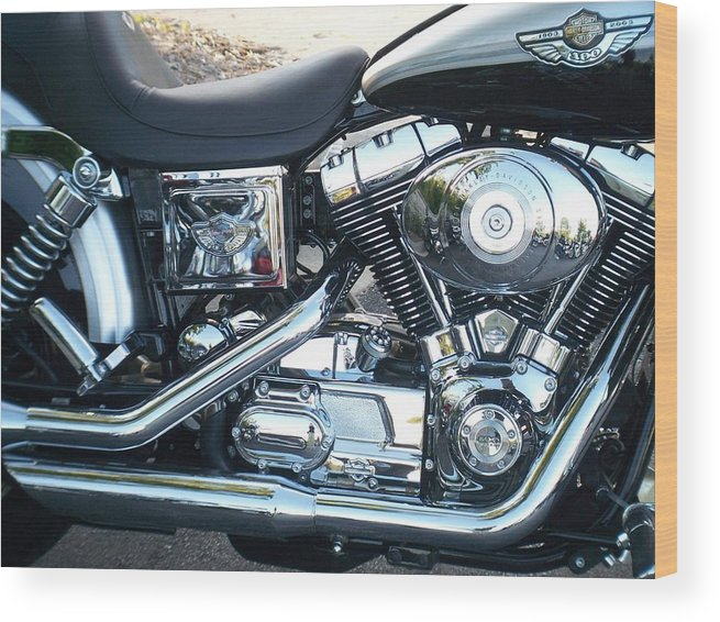 Motorcycles Wood Print featuring the photograph Harley Black And Silver Sideview by Anita Burgermeister