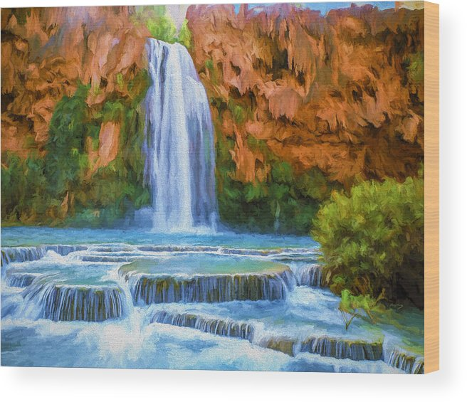 Fine Art Wood Print featuring the painting Havasu Falls by David Wagner