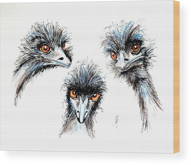 Emu Wood Print featuring the painting Heres Looking At You Kid by Anne Gardner