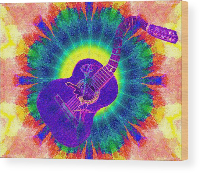 Hippie Wood Print featuring the photograph Hippie Guitar by Bill Cannon