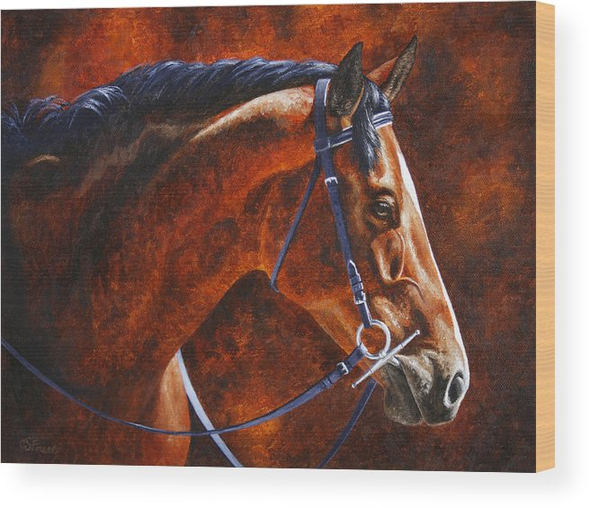 Horse Wood Print featuring the painting Horse Painting - Ziggy by Crista Forest
