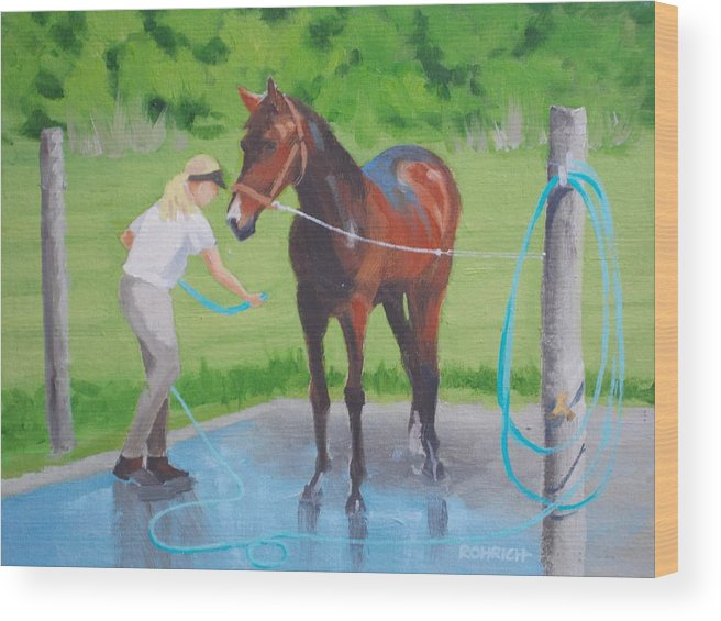 Stables Wood Print featuring the painting Horse  Wash by Robert Rohrich