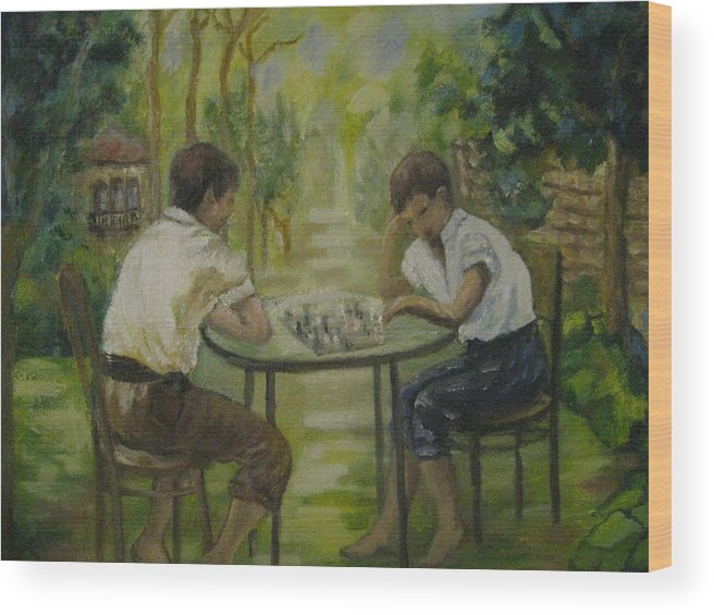 Boys Wood Print featuring the painting In The Garden by Jessy