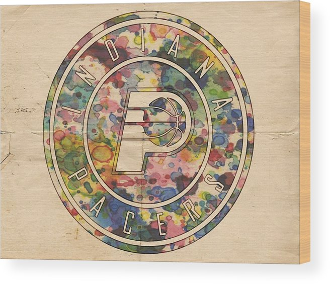 Indiana Pacers Wood Print featuring the painting Indiana Pacers Logo Vintage by Florian Rodarte