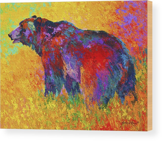 Bear Wood Print featuring the painting Into The Wind by Marion Rose