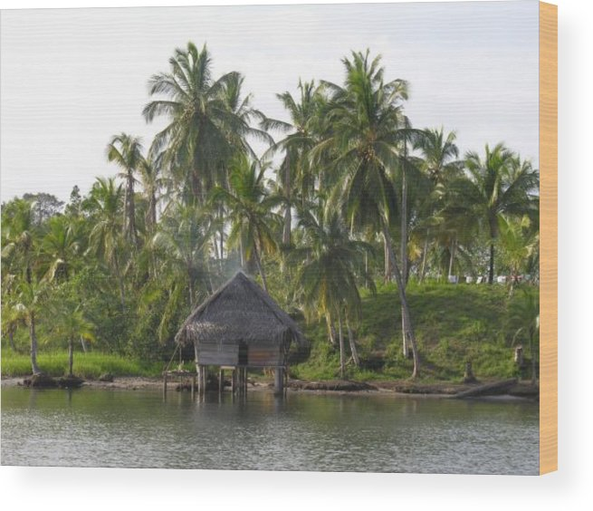 Tropics Water Sepia Bocas Panama Indian Life Palm Trees Island Beach Ngobe Bugle Comarca Cayuco Hut Over Water Wood Print featuring the photograph Isla Tigre - Hut Over Water And Palm Trees by Elle Nicolai