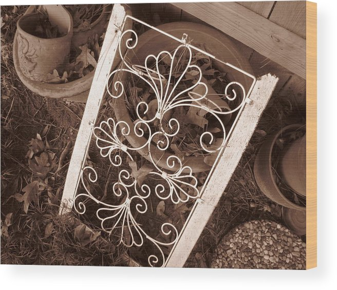Sepia Wood Print featuring the photograph I've Seen Better Days..... by Beth Vincent