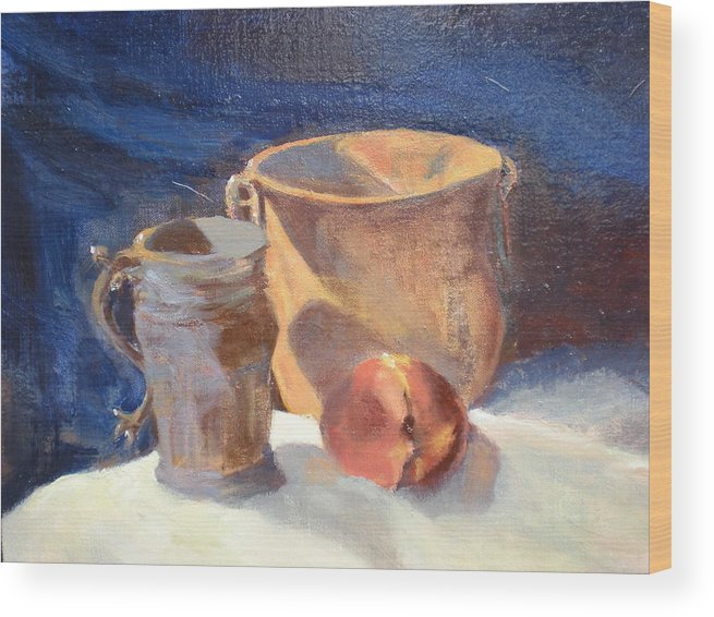Still Life; Fruit; Canisters; Vases Wood Print featuring the painting Just Peachy by Bryan Alexander