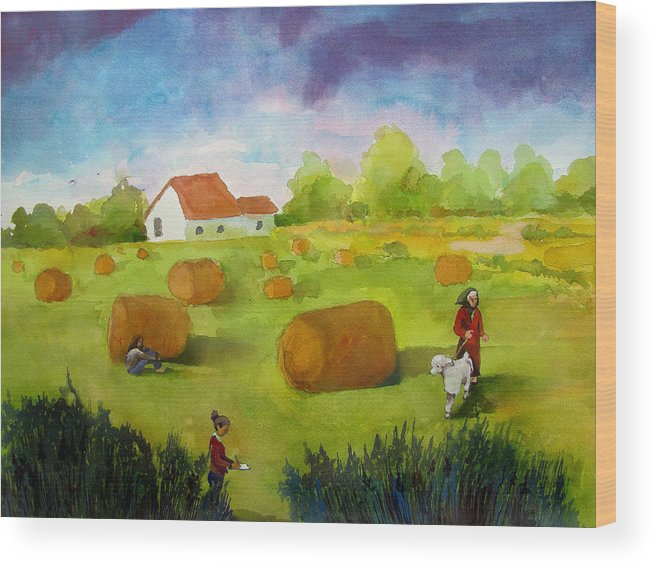 People Women Females Poodle House Hay Farm Reeds Complementary Color Contrast Landscape Trees Flatlands Prairie Figures Surrealism Scenery Nature Wood Print featuring the painting Keeping Score by James Huntley