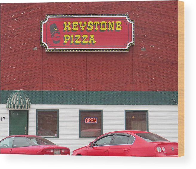 Blurred Wood Print featuring the photograph Keystone Pizza by Dart and Suze Humeston