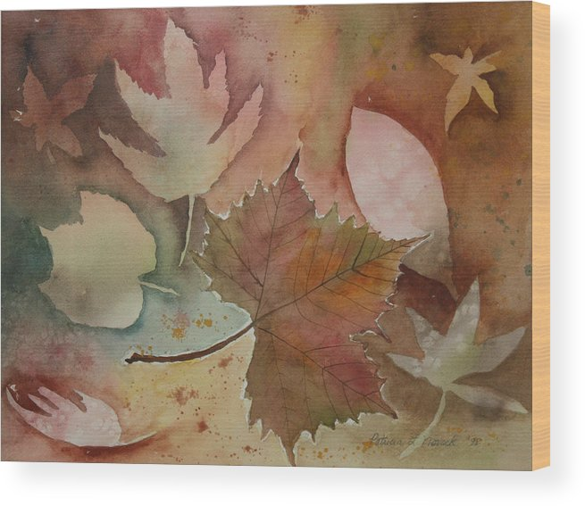 Leaves Wood Print featuring the painting Leaves by Patricia Novack