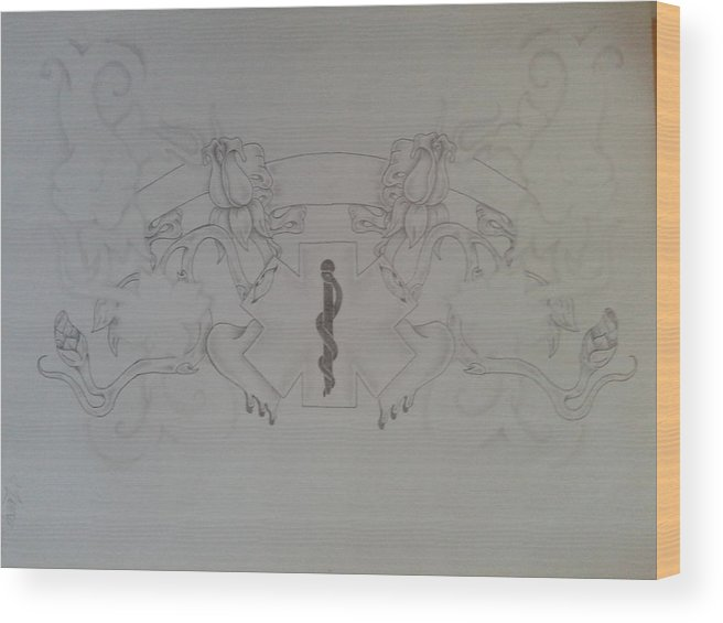Caduceus Cross Rose Hearts Smoke Banner Wood Print featuring the drawing Life Saver Love by Jeffrey Lamey