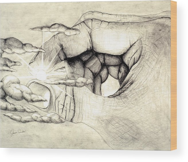Spiritual Wood Print featuring the drawing Light Within by Jaison Cianelli