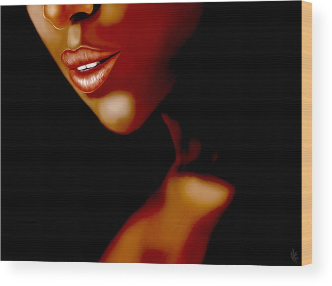 Lips Wood Print featuring the digital art Lipsy by Mathieu Lalonde
