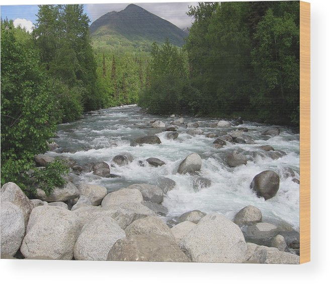 Hatchers Pass Wood Print featuring the photograph Little Susitna River by Terri Pfister
