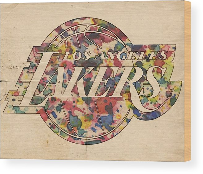 Los Angeles Lakers Wood Print featuring the painting Los Angeles Lakers Poster Art by Florian Rodarte