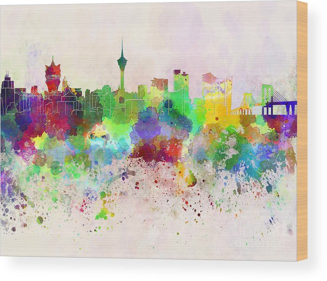Macau Skyline Wood Print featuring the digital art Macau Skyline In Watercolor Background by Pablo Romero