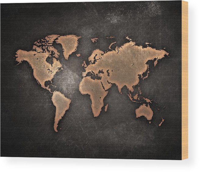 Map Wood Print featuring the painting Map The Continents Grunge by Tian Chen
