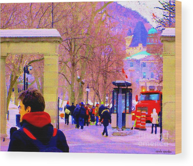 Mcgill University Wood Print featuring the painting Mcgill Campus Eager Students Enter Roddick Gates Montreal Collectible Art Prints Carole Spandau by Carole Spandau