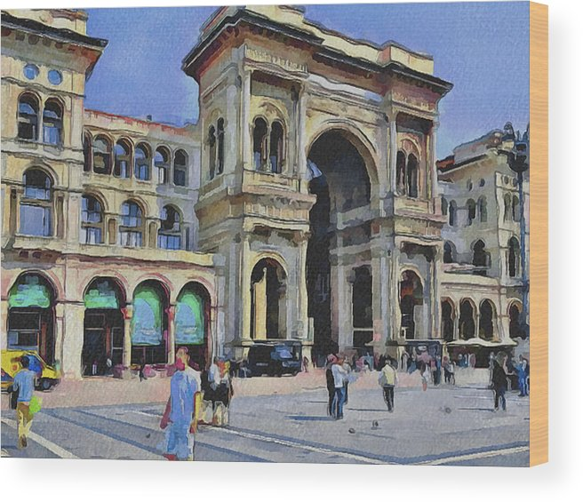 Milan Wood Print featuring the digital art Milano Dome Square 1 by Yury Malkov